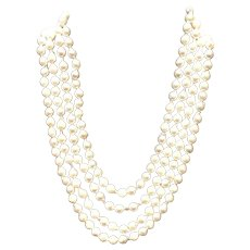 Vintage Multi Strand Cultured Ocean Pearls with Sterling Silver/Enamel Clasp