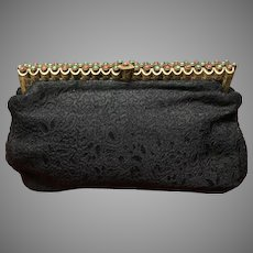 Vintage Black Brocade Clutch with Elaborate Jeweled Frame