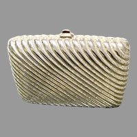 """Vintage Leiber Gold Tone """"Box"""" Purse with Fluted Design and Swarovski Crystals"""