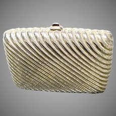 "Vintage Leiber Gold Tone ""Box"" Purse with Fluted Design and Swarovski Crystals"