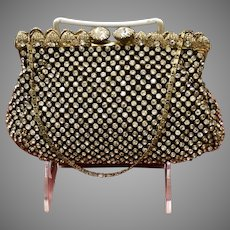 Vintage French Rhinestone Purse with Magnificent Closure and Frame