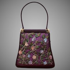Vintage Leiber Silk Handbag with Sequins and Embroidery