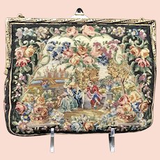 Vintage Petit Point Purse with Jeweled Frame