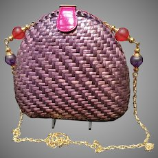 Vintage Rodo Two Sided Woven Straw Purse with Decorative Chain