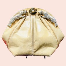 Vintage Karung Snakeskin Bag with Jeweled Tigers