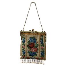 Vintage/Antique Micro Beaded Floral Handbag with Jeweled Frame