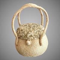 Vintage Josef Straw Bag with Shell Like Beaded Lid