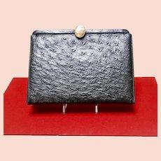 Vintage Ostrich Handbag with Fragonard  Medallion