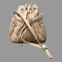 Vintage Leiber Python Drawstring Hobo Bag with Jewels
