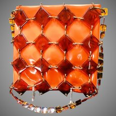 Vintage Funky Vinyl Handbag with Faux Tortoise Shell Cage