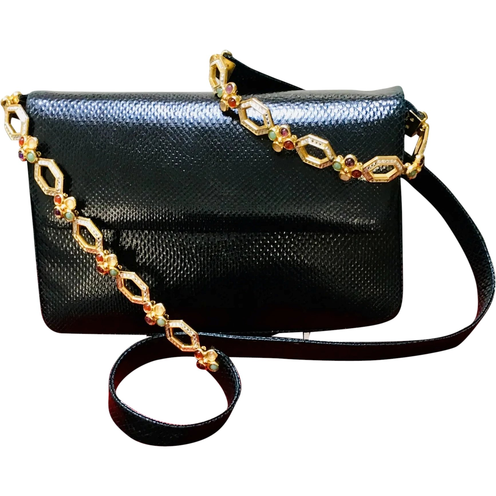 Vintage Leiber Karung Skin Shoulder Bag With Swarovski Crystals