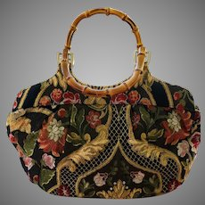 Vintage Talbot's Tapestry Type Large Bag with Bamboo Handles