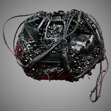 Vintage Grace Ann Agostino Leather Drawstring Bag Mixed Materials and Beading
