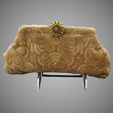 Vintage Josef Mid Century Beaded Clutch with Ornate Clasp Deco Vibe