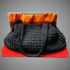 Vintage large Crochet Handbag with Huge Perspex Frame