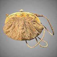 Vintage Revivals Animal Print Suede Shoulder Bag with Celluloid Frame