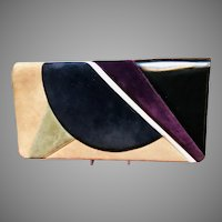 Vintage Huge Leiber Suede Envelope Style Purse with Deco Vibe