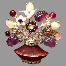 Vintage Leiber Poured Glass Floral Vase with Jewels