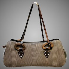 Vintage Escada Exotics Snakeskin Satchel with Wooden Ornamentation