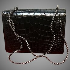 Vintage Early Leiber Alligator Purse with Glitzy Carry Straps