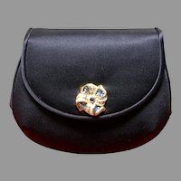 Vintage Leiber Navy Silk Purse with Jewels