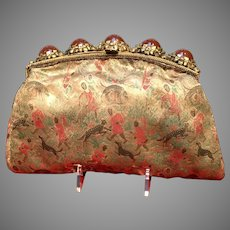 Vintage Rare African Scene Silk Clutch Purse with Elaborate Jeweled Frame