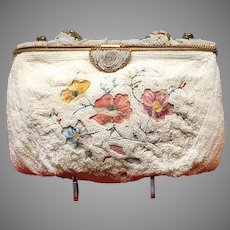 Vintage Beaded Purse with Tambour Embroidery...Perfect for the Bride