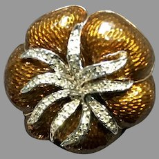 "Vintage Leiber ""Tomato"" Enameled Brooch with Swarovski Crystals"