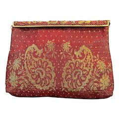 Vintage French Steel Bead Red Evening Bag with Ornate Frame