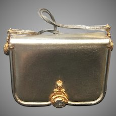 Vintage Judith Leiber Silver/Gold Purse with Huge Swarovski Jewels