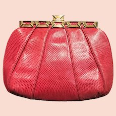 Vintage Leiber Red Karung Purse with Jeweled Frame