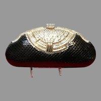 Vintage Shals International Python Evening Purse with Swarovski Crystals