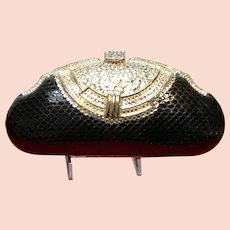 Vintage Shals International Python Evening Purse with Swarovski Crystals