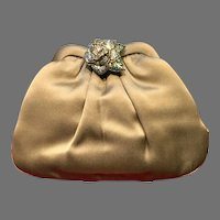 Vintage Leiber Silk Purse with Ornamental Jeweled Rose