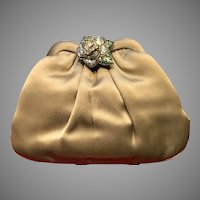Vintage Leiber Silk Purse with Ornamental Jeweled Rose