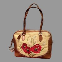 Vintage Valentino Garavani Straw Bag with Poppy Embroidery