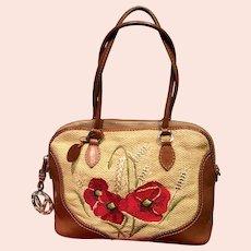 Vintage Valentino Garavani Straw Bag with Poppy Embroidery