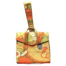Vintage Gump's Silk Brocade Kimono Handbag with Wristlet