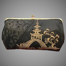 Vintage Anthony Luciano Silk Purse with Asian Flair