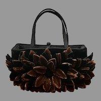 Vintage Dimensional Velvet  Flower Handbag