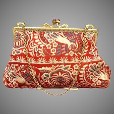 Vintage Silk Embroidered Unusual Purse
