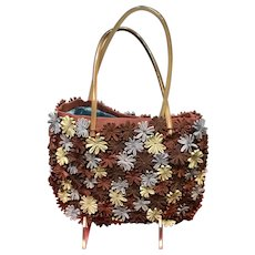 Vintage Jamin Puech Small Tote Style Handbag with Dimensional Flowers