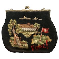 "Vintage Large Needlepoint ""Golf"" Handbag"