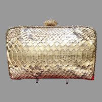 Vintage Clara Kasavina Python Purse with Crystal Frame and Embellishments