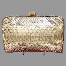 Vintage Clara Kasavina Python Purse with Crystal Frame and Embellishments