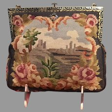 Vintage Petit Point Scenic Handbag with Enameled Frame