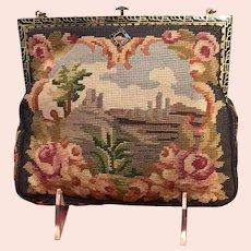 Vintage Petit Point Scenic Handbag with Enameled Frame