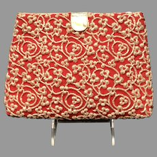 Vintage Koret Red Clutch/Purse with Metallic Gold Passimentre/ Embroidery