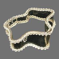 Vintage Bill Schiffer Wave/Ribbon Clear Acrylic Bracelet with Rhinestones