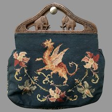 Vintage Huge Needlepoint Bag with Carved Elephant Frame